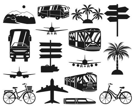 16 monochrome black and white vacation icons. Travel themed vector illustration for label, certificate, coupon or sale banner background decoration