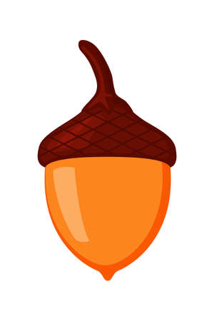 Cartoon colorful acorn Autumn foliage decor. Fall themed vector illustration for icon, logo, poster, postcard or invitation card decoration