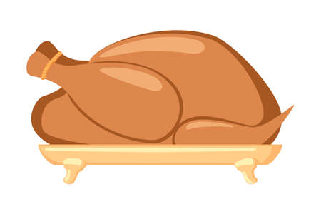 Cartoon roasted turkey. Holiday festive food. Thanksgiving themed vector illustration for icon, logo, poster, postcard or invitation card decor 矢量图像