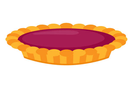 Cartoon colorful raspberry pie vector illustration