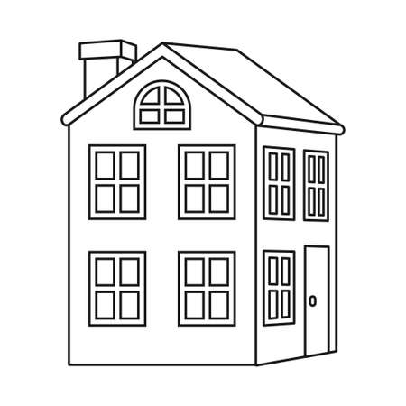 Line art black and white 2 floor town house. Warm home for modern family. Vector illustration for icon, site label, gift card, coloring book decoration 向量圖像
