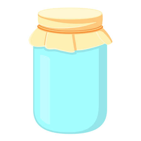 Cartoon closed empty glass jar. Container for homemade pickles or jam. Harvest themed vector illustration for icon, logo, poster, postcard or invitation card decoratio