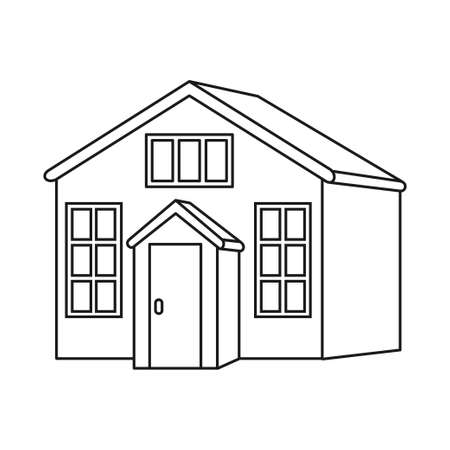 Line art black and white town house with attic. Suburban loft home ready to rent. Vector illustration for icon, site label, gift card, coloring book decoration 矢量图像