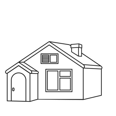 Line art town house. New home for modern family. Vector illustration for icon, site label, gift card, coloring book decoration 向量圖像
