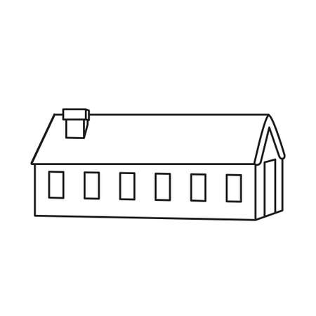 Black and white thick village house. Warm worker home. Vector illustration for icon, site label, gift card, coloring book decoration