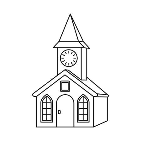 Line art black and white clock tower. Small town building. Vector illustration for icon, site label, gift card, coloring book decoration