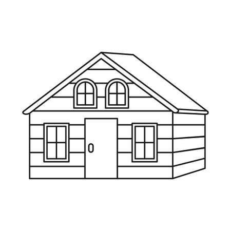 Line art black and white wooden cabin. House to rest in woods before the adventure. Vector illustration for icon, site label, gift card, coloring book decoration 矢量图像