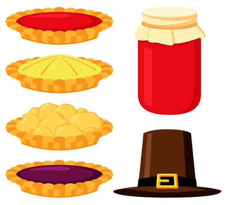 Colorful cartoon thanksgiving food elements set. Festive autumn party icons. Fall themed vector illustration for logo, poster, postcard or invitation card decor