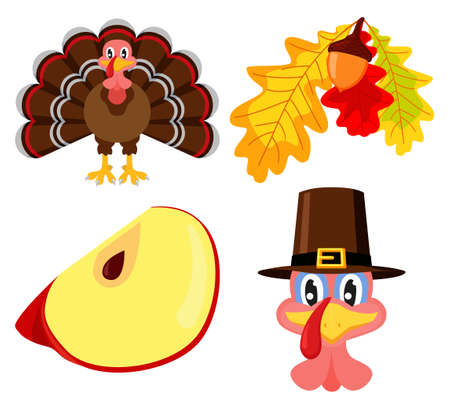 Colorful thanksgiving element set. Festive autumn party icons. Fall themed vector illustration for logo, poster, postcard or invitation card decor