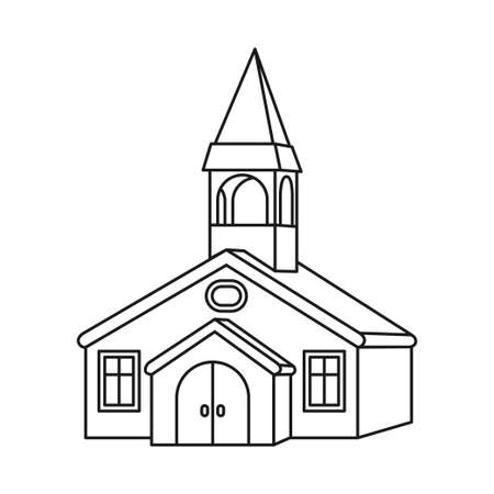 Line art black and white town hall. Small town building. Vector illustration for icon, site label, gift card, coloring book decoration