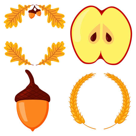 Colorful autumn harvest elements. Festive party frames set. Thanksgiving themed vector illustration for poster, postcard or invitation card decor 矢量图像