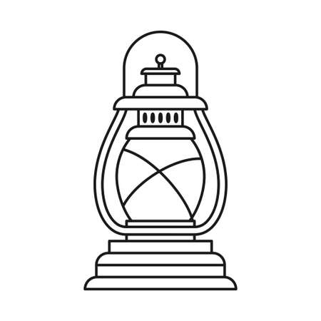 Line art black and white oil lantern. Nightime party decoration. Vintage lighting themed vector illustration for icon, site label, gift card, coloring book decoration