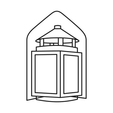 Black and white old lantern. Rustic night lighting. Vintage themed vector illustration for icon, site label, gift card, coloring book decoration 向量圖像