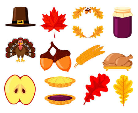 Colorful fall harvest element set. Festive autumn party icons. Thanksgiving themed vector illustration for logo, poster, postcard or invitation card decor