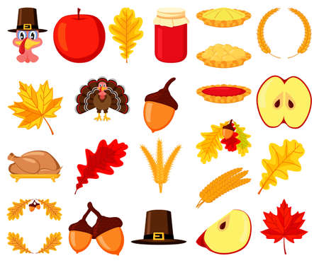 Colorful thanksgiving 23 element set. Festive autumn party icons. Fall themed vector illustration for logo, poster, postcard or invitation card decor