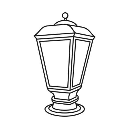 Black and white street lantern. Outdoor lightnind party decor. Vintage themed vector illustration for icon, site label, gift card, coloring book decoration