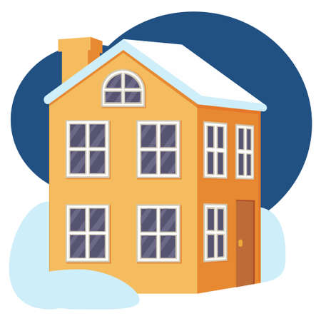 Cartoon colorful winter town house. Warm home for modern family. Vector illustration for icon, site label or gift card