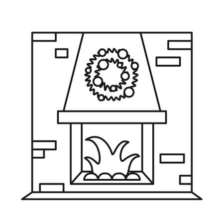 Black and white build-in fireplace. Indoor heater inside brick wall. Christmas theme vector illustration for poster, label, gift card, coloring book decoration