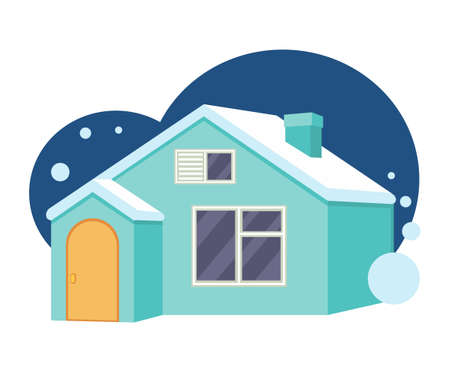 Cartoon blue town house. New home for modern family. Vector illustration for icon, site label or gift card