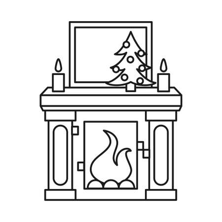 Line art of Christmas decorated fireplace.