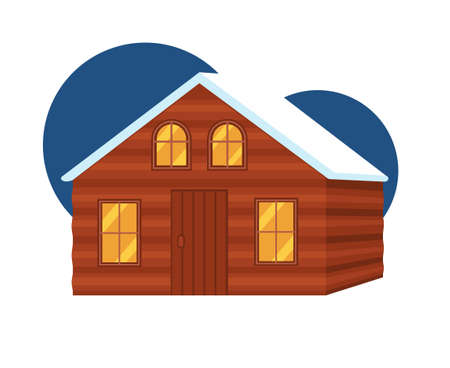 Cartoon colorful wooden cabin. House to rest in woods before the adventure. Vector illustration for icon, site label or gift card