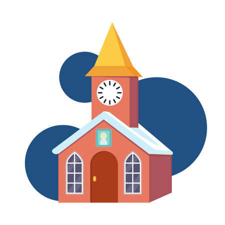 Colorful cartoon clock towerr. Small town building. Vector illustration for icon, site label, gift card or party decoration 向量圖像