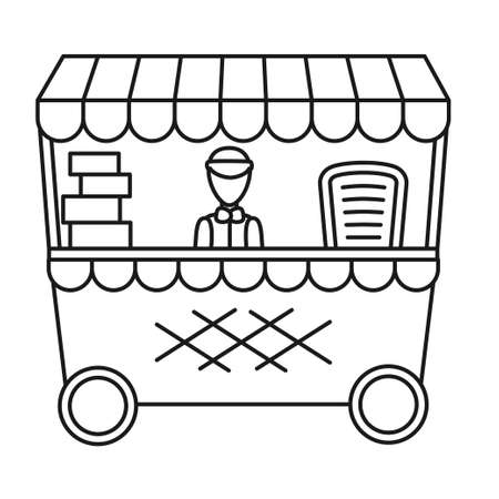 Line art black and white food cart. Gift stall with boxes and one employee. Vector illustration for poster, site, gift card or coloring book decoration