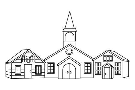 Line art black and white town street. Vector illustration for site banner, leaflet or flyer background, gift card or coloring book page 矢量图像
