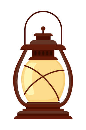 Colorful cartoon old oil lantern. Nightime party decoration. Vintage lighting themed vector illustration for icon, site label or gift card 矢量图像