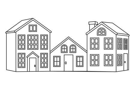 Line art black and white village background. Vector illustration for site banner, leaflet or flyer, gift card or coloring book page 向量圖像