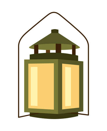 Colorful cartoon old lantern. Rustic night lighting. Vintage themed vector illustration for icon, site label, gift card or party decoration