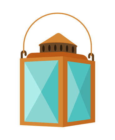 Colorful cartoon vintage style lantern. Rustic outdoor party decor. Vintage themed vector illustration for icon, site label or gift card