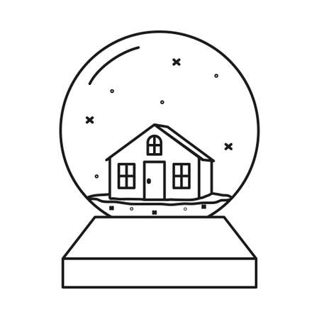 Line art black and white xmas glass ball. Small winter house toy. Christmas theme vector illustration for poster, label, gift card, coloring book decoration 矢量图像