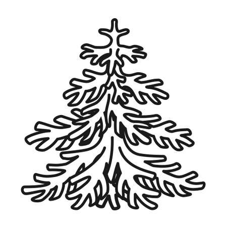 Line art black and white fir tree. Winter festive tree ready for holiday decoration. Christmas theme vector illustration for poster, label, gift card, coloring book decoration 矢量图像