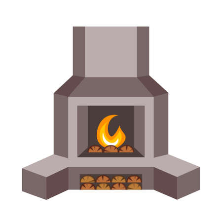 Cartoon metal fire place. Home fireplace setup for winter holidays. Christmas theme vector illustration for poster, label or gift card decoration