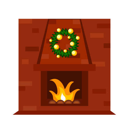 Colorful cartoon red brick fireplace. Indoor holiday decorated wall heater. Christmas theme vector illustration for poster, label or gift card decoration 矢量图像