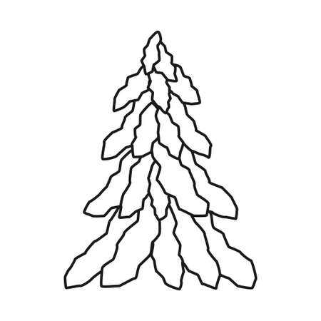 Black and white snowy fir tree. Winter festive plant ready for holiday decoration. Christmas theme vector illustration for poster, label, gift card, coloring book decoration