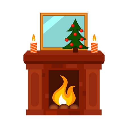 Colorful cartoon xmas decorated fireplace. Cozy warm home heater. Christmas theme vector illustration for poster, label or gift card decoration