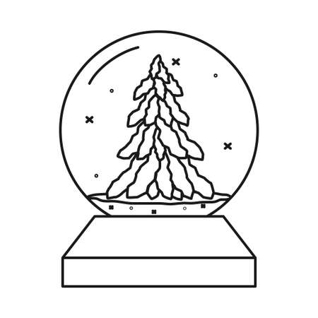 Black and white glass ball toy. Snowy fir tree decoration. Christmas theme vector illustration for poster, label, gift card, coloring book decoration