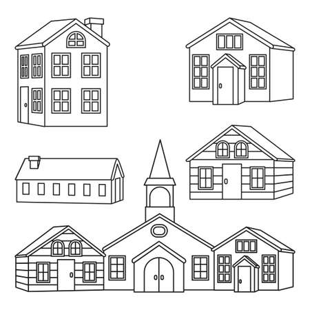 Line art black and white town houses set. Vector illustration for site banner, leaflet or flyer background, gift card or coloring book page