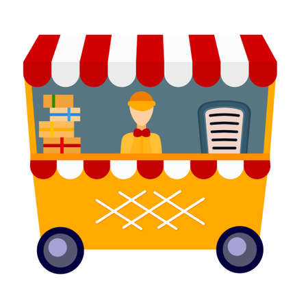 Colorful cartoon food cart. Gift stall with boxes and one employee. Vector illustration for icon, leaflet, poster or site decoration 矢量图像