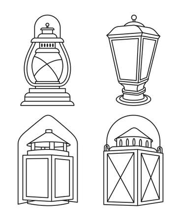 Line art black and white vintage lanterns set 矢量图像
