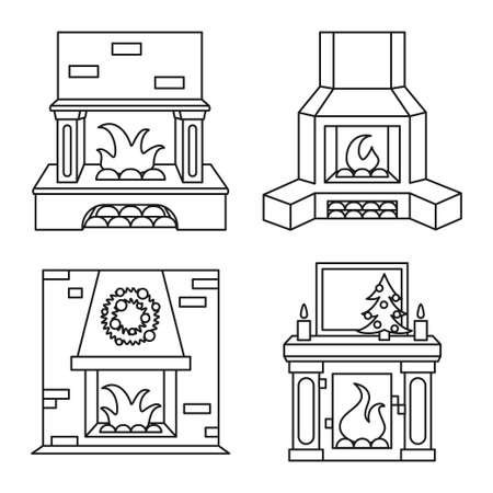 Line art black and white fireplace set