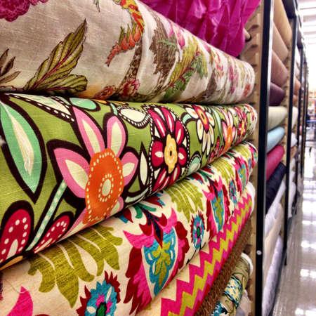 aisle: Aisle of fabric patterns Stock Photo