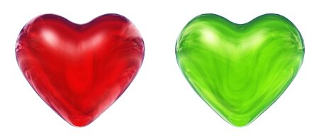 3D glass hearts rendered at maximum quality photo