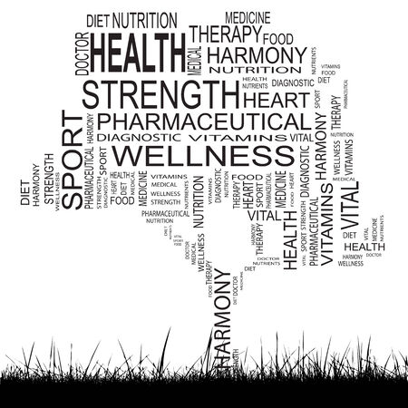 Conceptual health tree word cloud grass background