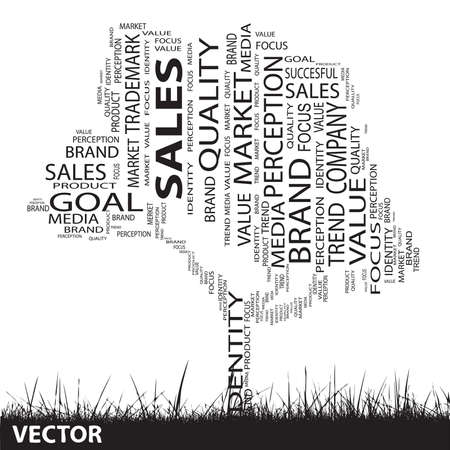 Conceptual media or business tree word cloud grass background Vector