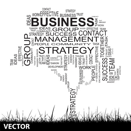 Conceptual business tree word cloud grass background Vector