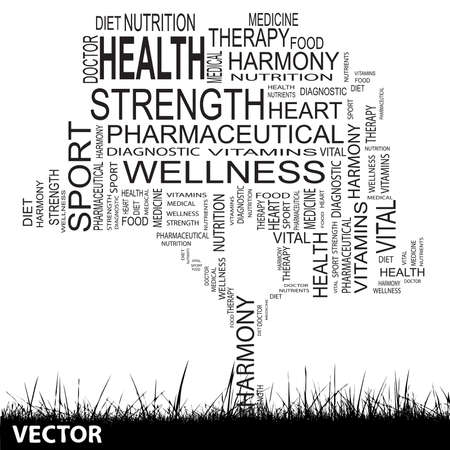 Conceptual health tree word cloud grass background Vector