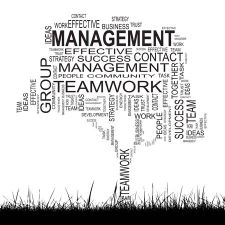 Conceptual business success tree word cloud grass background photo